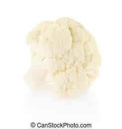 Piece of fresh cauliflower on white - Piece of fresh...