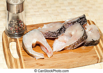 Piece of fresh raw fish.