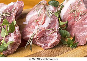 Piece of fresh raw meat.