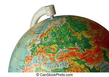 globe - piece of globe with Europe