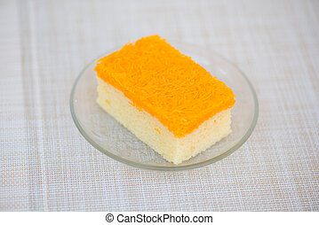 Piece of golden threads cake