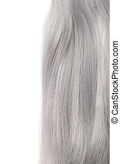piece of grey hair isolated on white background