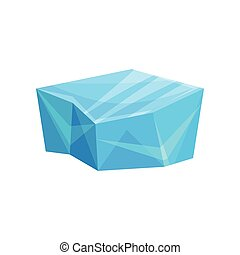 Piece of ice, cold frozen block vector Illustration