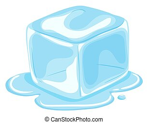 Piece of ice cube melting  illustration