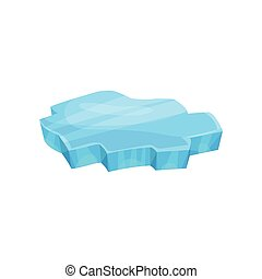 Piece of ice, icy cliff or iceberg vector Illustration