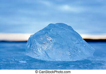 piece of ice on frozen lake