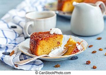 Piece of Kugel a traditional Jewish dessert food. - Plate...