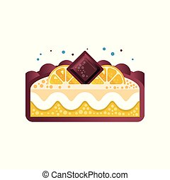 Piece of layered delicious lemon cake with chocolate vector Illustration on a white background