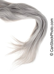 piece of long grey hair isolated on white