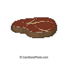 Piece of meat pixel art. pork 8 bit. Meat Pixelate vector illustration