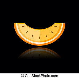 Piece of melon on black for your design