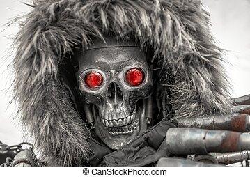 Piece of modern warfare, robot closeup photo