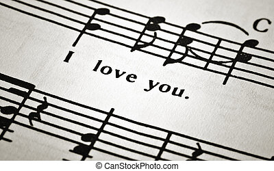 piece of musical notes, with words about love