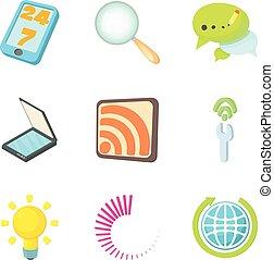 Piece of news icons set, cartoon style