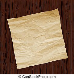 Piece of old paper on wooden texture background. Image trace. Vector illustration.