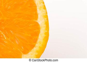 piece of orange on a white background