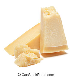 Piece of parmesan cheese on white background