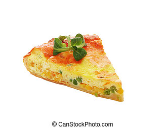 Piece of pie with cheese and vegetables
