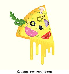 Piece of pizza cheerful character. Flat vector cartoon...