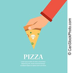 Piece Of Pizza In a Hand. template for pizzeria restaurant