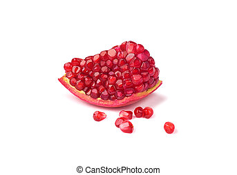 piece of pomegranate with seeds isolated on white background