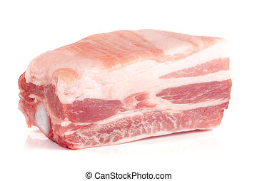 piece of pork isolated on white background