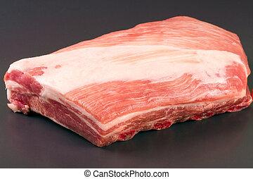 piece of pork on a dark background
