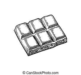 Piece of porous white chocolate.