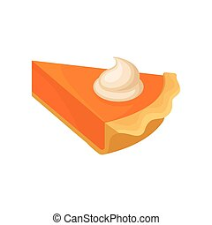 Piece of pumpkin pie, traditional Thanksgiving food vector Illustration on a white background