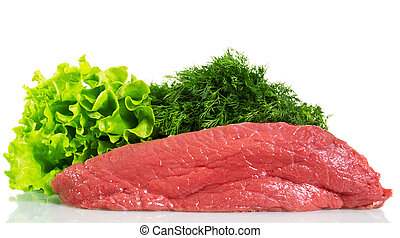 Piece of raw beef and greens isolated on white background.