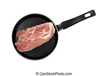 piece of raw meat in a frying pan
