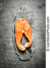 piece of raw trout.