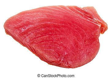 piece of raw tuna fish meat isolated on white
