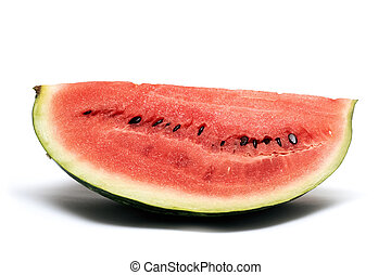 Piece of red watermelon, isolated on a white background
