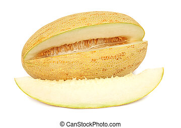 Piece of ripe melon and slice (isolated)