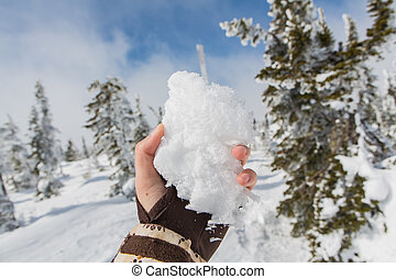 Piece of snow in hand