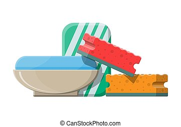 Piece of soap in the soap dish. Vector illustration in flat...