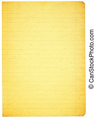 piece of stained lined paper isolated on pure white background