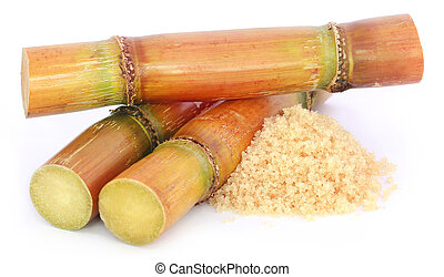 Piece of sugarcane with sugar