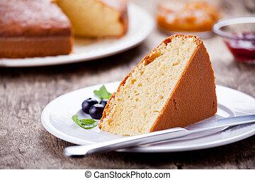 Piece Of Vanilla Cake With Jam