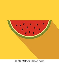 Piece of watermelon icon, flat style