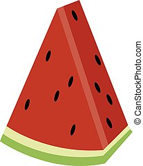 Piece of watermelon, illustration, vector on white background.
