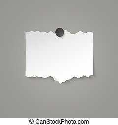 Piece of white paper with torn edges attached with a magnet. Vector illustration