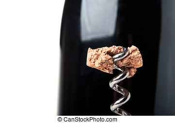 piece of wine cork on a corkscrew