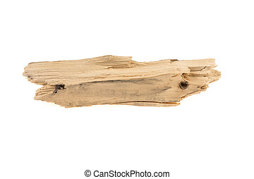 piece of wood, chips on a white background