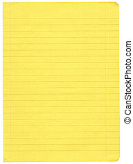 piece of yellow lined paper isolated on pure white background