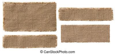 pieces, брезент, ткань, порванный, isolated, мешок, метка,...