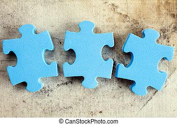 pieces, старый, головоломка, три, холст