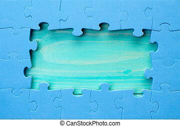 pieces, arranged, головоломка, деревянный, граница, вокруг, зеленый, поверхность