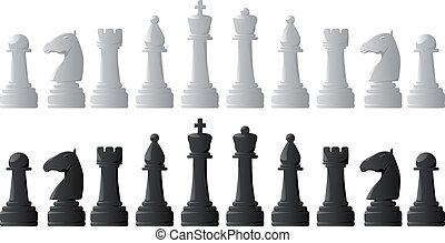 pieces., ensemble, échecs